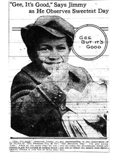 Here and orphan, or newsboy, or orphan enjoys candy